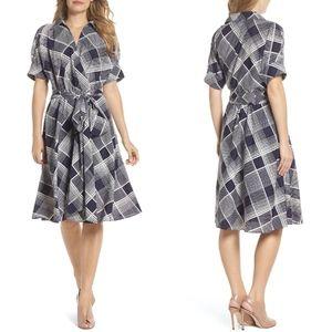 Eliza j Navy Plaid Surplice Flare Midi Dress 2P